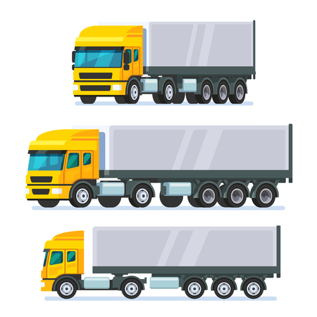 ciężarówka: Nowoczesna europejska norma płaski nos przegubowe ciężarówka ciężarówka. Nowoczesny styl mieszkania ilustracji wektorowych na białym tle.