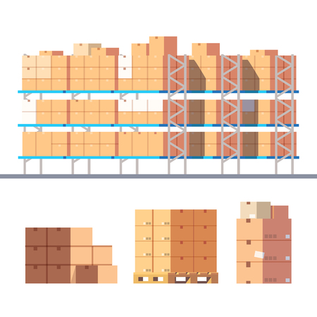 stockpiling: Stocked warehouse shelves and cardboard boxes on pallets. Modern flat style vector illustration isolated on white background.