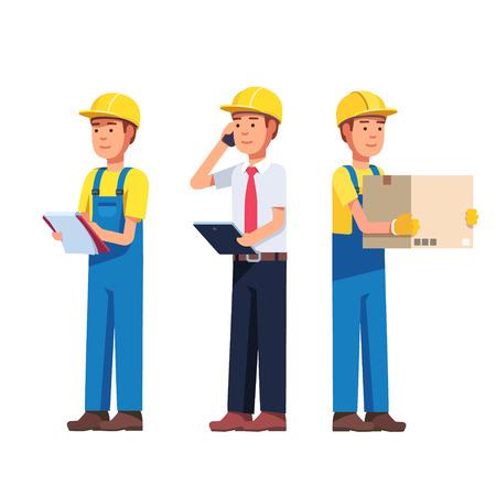 창고 및 배달 또는 건물 노동자. 포먼, 관리자 및 배달 작업. 현대 평면 스타일 벡터 일러스트 레이 션 흰색 배경에 고립. 일러스트