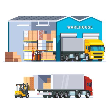 Logistiek magazijn met laden vrachtwagen en werkende heftruck. Moderne vlakke stijl vectorillustratie geïsoleerd op een witte achtergrond. Vector Illustratie