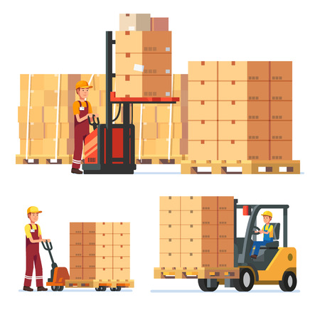 Warehouse workers loading, stacking goods with electric hand lifters and forklift truck. Modern flat style vector illustration isolated on white background.