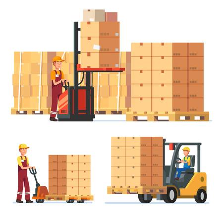 trabajadores del almacén de carga, apilamiento de mercancías con elevadores manuales eléctricas y carretillas elevadoras. ilustración vectorial de estilo plano moderno aislado en el fondo blanco.