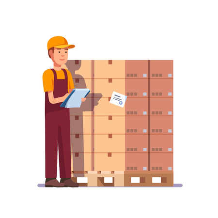 stockpiling: Warehouse worker checking goods on pallet. Stock taking job. Modern flat style vector illustration isolated on white background.