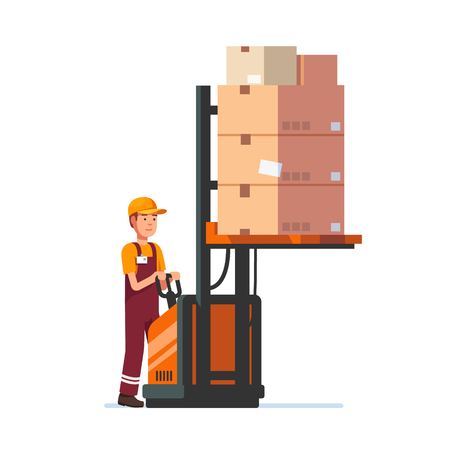 to unload: Warehouse worker operating electric fork lifter with stacked boxes. Modern flat style vector illustration isolated on white background.