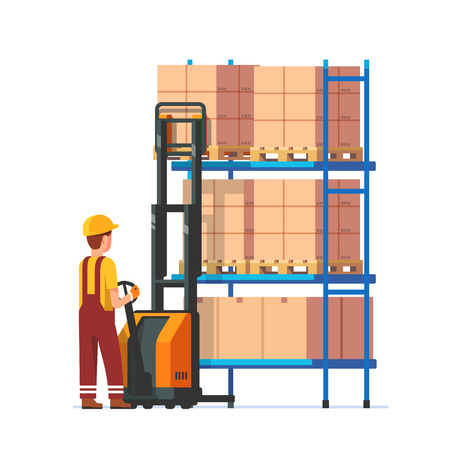 metal worker: Warehouse worker operating electric fork lifter, loading stacked boxes on a metal rack. Modern flat style vector illustration isolated on white background.