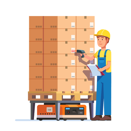 stockpiling: Warehouse worker checking goods pallet on a robot with barcode scanner. Stock taking job. Modern flat style vector illustration isolated on white background.
