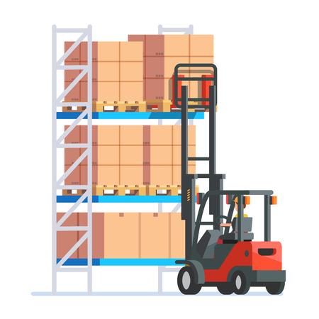 montacargas: Almacén y entrega de los trabajadores. Foreman, director y niño de entrega. ilustración vectorial de estilo moderno plano.