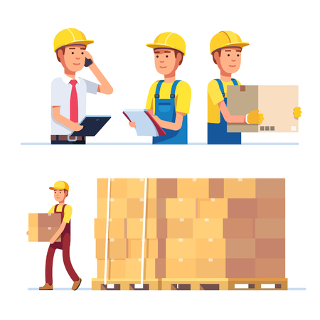 superintendent: Warehouse and delivery workers. Foreman, manager and delivery boy. Modern flat style vector illustration isolated on white background.