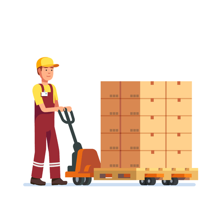 lifter: Warehouse worker man towing hand fork lifter with boxes on pallet. Modern flat style vector illustration isolated on white background.