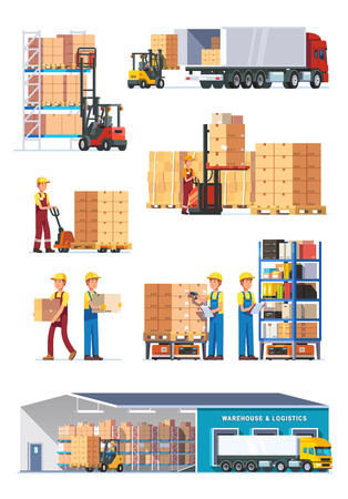 shipment: Logistics illustrations collection. Warehouse center, loading trucks, forklifts and workers. Modern flat style vector illustration isolated on white background.