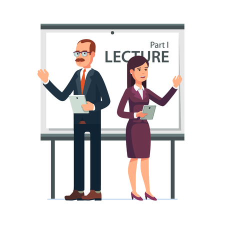 whiteboard: Modern business teachers giving a lecture or presentation. Standing in front of whiteboard with tablet computers in hands. Modern flat style vector illustration isolated on white background.