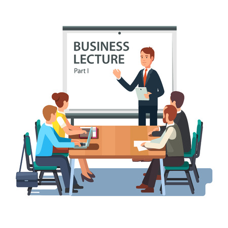 teacher classroom: Modern business teacher giving lecture or presentation to a group of employees. Standing in front of whiteboard with tablet computer in hand. Modern flat style vector illustration on white background.