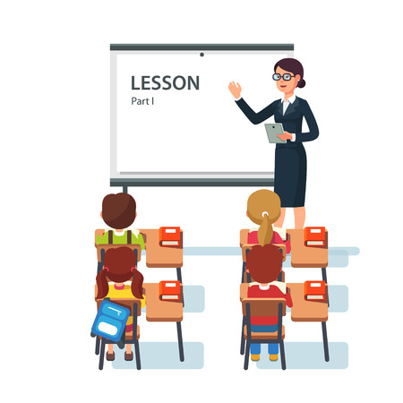 teacher and students: Modern school lesson. Little students and teacher. Classroom with whiteboard, pupils tables and chairs. Modern flat style vector illustration isolated on white background.