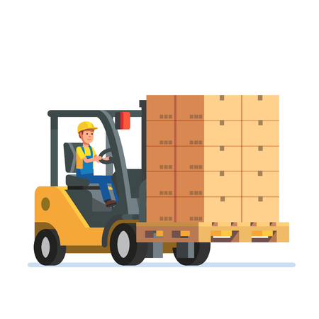 lift truck: Forklift truck carrying a stacked goods boxes pallet. Modern flat style vector illustration isolated on white background.