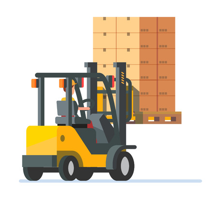 Forklift truck carrying a stacked goods boxes pallet. Modern flat style vector illustration isolated on white background.