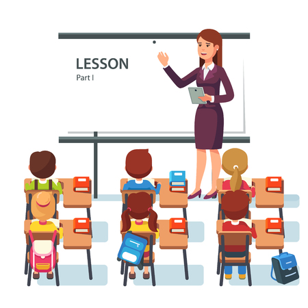 whiteboard: Modern school lesson. Little students and teacher. Classroom with whiteboard, pupils tables and chairs. Modern flat style vector illustration isolated on white background.