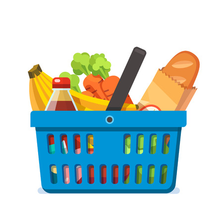 basketful: Shopping basket full of fresh groceries. Healthy organic natural food and bread. Modern flat style vector illustration isolated on white background. Illustration
