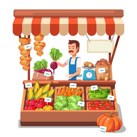 mandil: agricultores mercado local de venta de productos vegetales en su puesto con toldo. ilustración vectorial realista estilo plano moderno aislado en el fondo blanco. Vectores