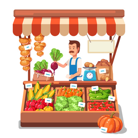 farmer: Local market farmer selling vegetables produce on his stall with awning. Modern flat style realistic vector illustration isolated on white background.
