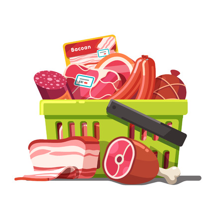 Shopping basket full of meat. Raw and prepared. Modern flat style realistic vector illustration isolated on white background.