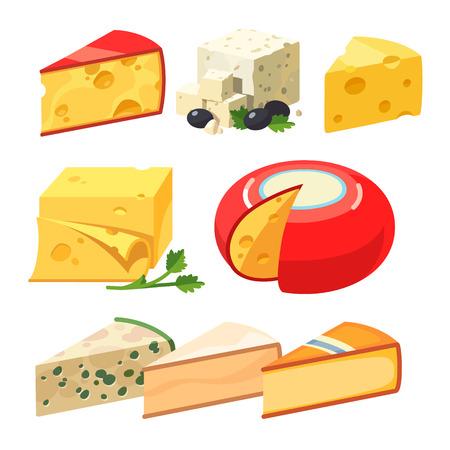 types de fromage. de style plat vecteur réaliste illustration des icônes modernes isolé sur fond blanc.