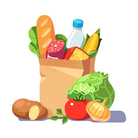 종이 가방에 식료품입니다. 현대 평면 스타일 현실적인 벡터 일러스트 레이 션 흰색 배경에 고립.