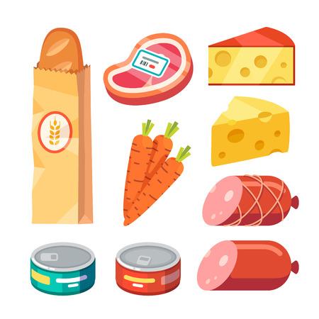 Comestibles. carne fresca y cocida, queso y alimentos enlatados. estilo plana vector ilustración realista iconos modernos aislados sobre fondo blanco. Ilustración de vector
