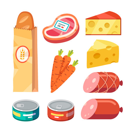 average: Groceries. Fresh and cooked meat, cheese, and canned food. Modern flat style realistic vector illustration icons isolated on white background.