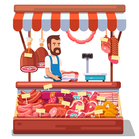 salesman: Local market farmer selling fresh meat produce on his stall with awning. Modern flat style realistic vector illustration isolated on white background.