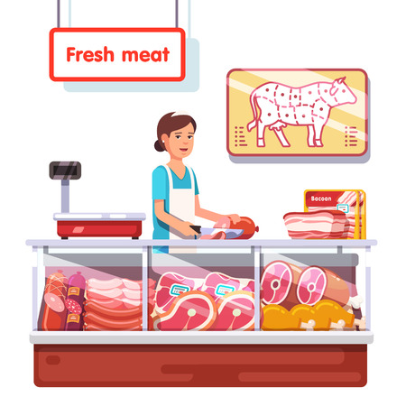 sales clerk: Fresh meat stand in a supermarket. Sales clerk woman worker slicing meat. Modern flat style realistic vector illustration isolated on white background. Illustration