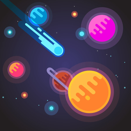 comet: Comet flying through deep space galaxy. Cosmos concept. Flat style vector illustration.