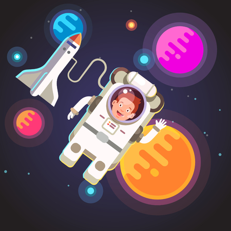spacesuit: Astronaut boy flying in space in his spacesuit on a cable from rocket ship shuttle. Flat style vector illustration.