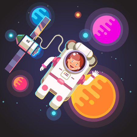 spacesuit: Astronaut girl flying in space in her spacesuit on a cable from rocket ship shuttle. Woman cosmonaut. Flat style vector illustration. Illustration