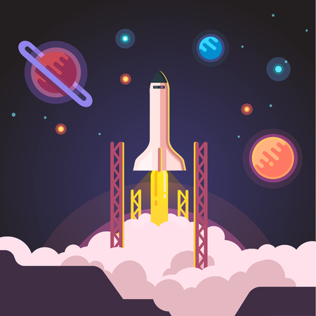 take a history: Rocket ship shuttle launch. Flat style vector illustration.