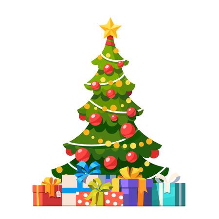 Stern, Dekoration Bälle und Glühbirne Kette verzierten Weihnachtsbaum mit vielen Geschenk-Boxen. Wohnung Stil Vektor-Illustration isoliert auf weißem Hintergrund.