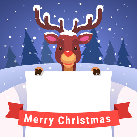greet card: Baby reindeer with antlers covered with snow holding white greeting card copyspace decorated with red Merry Christmas ribbon. Flat style isolated vector illustration.