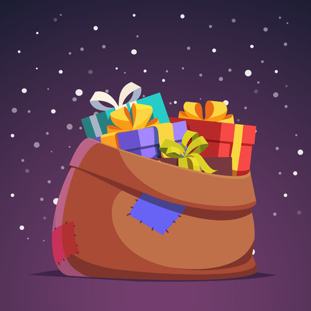 sackful: Santa Claus sack full of gift and present boxes in front night falling snow background. Flat style isolated vector illustration. Illustration