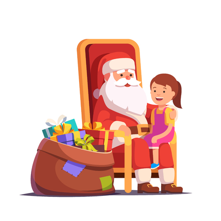 Santa Claus holding little smiling girl on his lap. Flat style vector illustration isolated on white background. Illustration