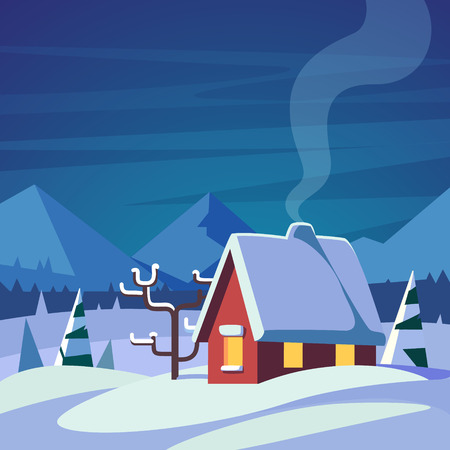 rural house: Christmas decorated country house in mountains foothills. Rural snowy winter. Flat style isolated vector illustration. Illustration
