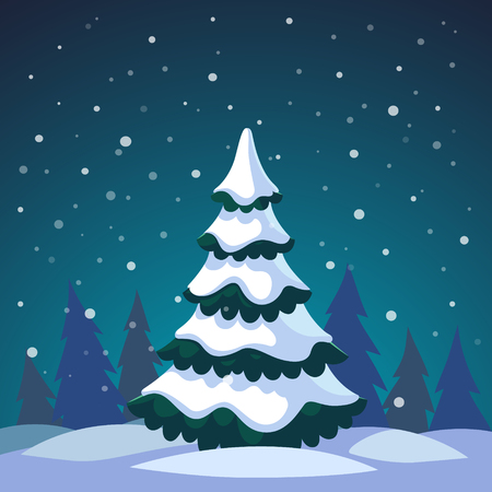 snow forest: Christmas fir tree covered in snow standing in the night forest. Flat style isolated vector illustration.
