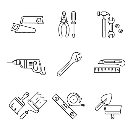 hardware tools: Home tools and hardware set. Thin line art icons. Linear style illustrations isolated on white.