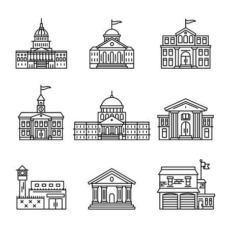 municipal court: Government and education buildings set. Thin line art icons. Linear style illustrations isolated on white.