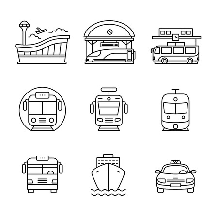 water transportation: Modern transportation and urban infrastructure set. Road, rail and water city transportation stations signs. Thin line art icons. Linear style illustrations isolated on white. Illustration