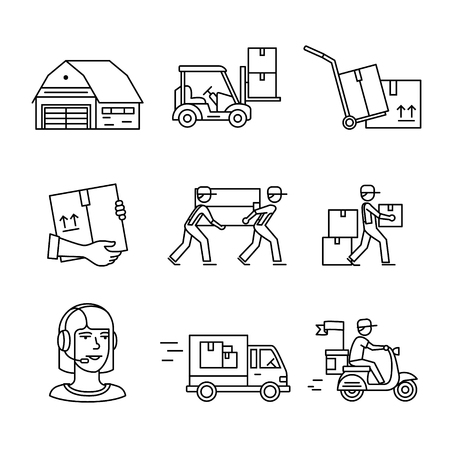 delivery package: Warehouse, wholesale, services and delivery transportation signs set. Thin line art icons. Linear style illustrations isolated on white. Illustration