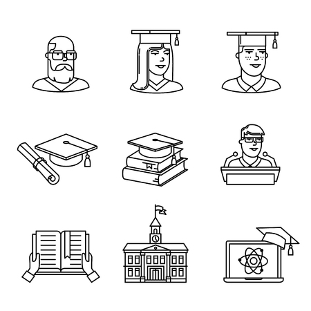 University and academic education signs set. Thin line art icons. Linear style illustrations isolated on white. 向量圖像