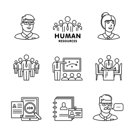 line work: Human resources, team work and building signs set. Thin line art icons. Linear style illustrations isolated on white.