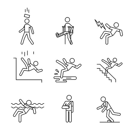 harm: Man accident and traumas safety sign set. Thin line art icons. Linear style illustrations isolated on white.