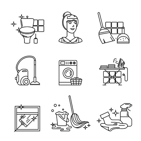 cleanness: Home cleaning, washing and tidying signs set. Thin line art icons. Linear style illustrations isolated on white.
