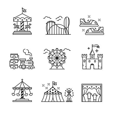 테마 놀이 공원 노래 설정합니다. 얇은 라인 아트 아이콘. 선형 스타일 삽화 화이트 격리입니다.