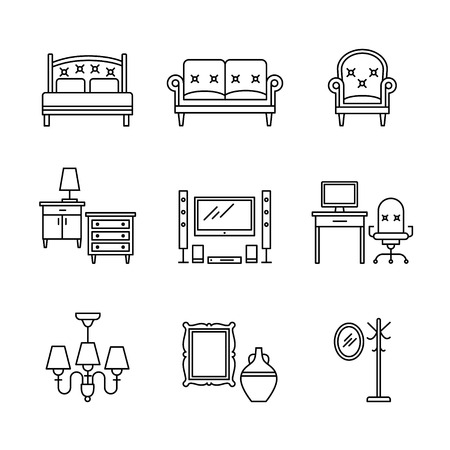 speakers desk: Home furniture signs set. Thin line art icons. Linear style illustrations isolated on white.